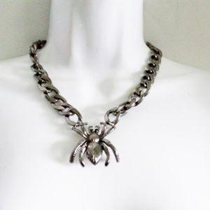 SPIDER Creepy Chainlink Choker Necklace Goth Punk